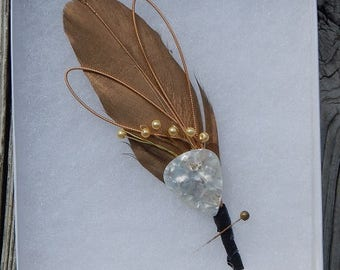 Musical feather boutonniere with Guitar Pick