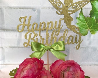 Happy birthday cake topper, Tinkerbell cake topper, Tinker bell cake topper, Campanita topper, Personalized cake topper, Tinkerbell party