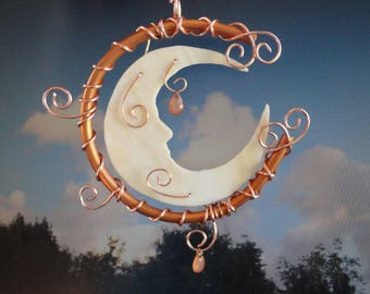 Stained Glass Moon, Garden Sculpture, Celestial, Sun Catcher, Mobile, Copper Moon, Man in the Crescent Moon, Ornament, Moon Garden, Moon Man