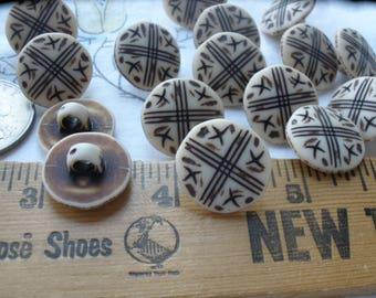 "Vintage Faux bone Tribal pattern shank buttons 28L 17MM 11/16"" plastic craft paper tag supply wrap bracelet clasp 3mm shank costume"