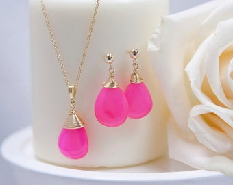 Bright Pink Handmade Chalcedony Post Earrings, Gold Filled, Wire Wrapped gemstone earrings