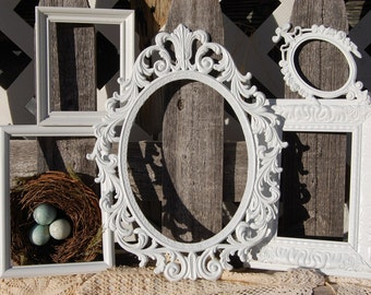 White Rustic Picture Frames - Antique Picture Frame Set - 5 Shabby Chic Frames - PICTURE FRAMES - Wedding