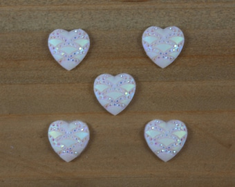 White Heart Hair Bow Center, White Heart cabochon, Sparkling Heart Flatback, DIY Hair Bow Supplies, DIY Headband Center, Craft Supplies,