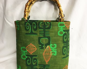 Handbag - Honolulu Chinatown Olive fabric by SophistaTiki by Dawn Frasier