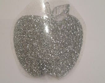 Fusible pattern Apple silver sequin fabric