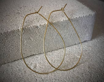 Gold Teardrop Hoops / Teardrop Hoop Earrings / Lightweight Gold Hoops / Gold Hoop Earrings / Thin Gold Hoops