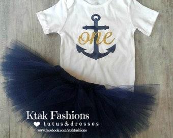 First Birthday Set, Tutu, Shirt, One Anchor