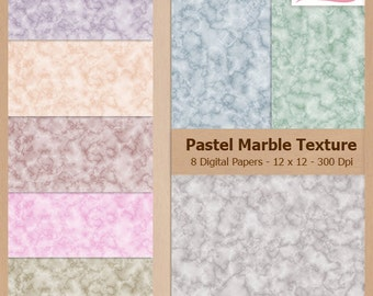Digital Scrapbook Paper Pack - PASTEL MARBLE TEXTURE - Instant Download