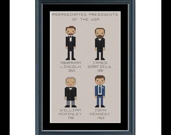 Cross stitch pattern - Assassinated Presidents of the USA
