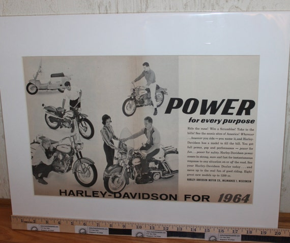 "1964 Vintage Harley-Davidson - Power For Every Purpose - 16"" x 20"" Matted Print Motorcycle Ad / Art / Poster 6401amot02m"