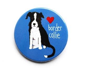 Border Collie button 38mm dog owner badge