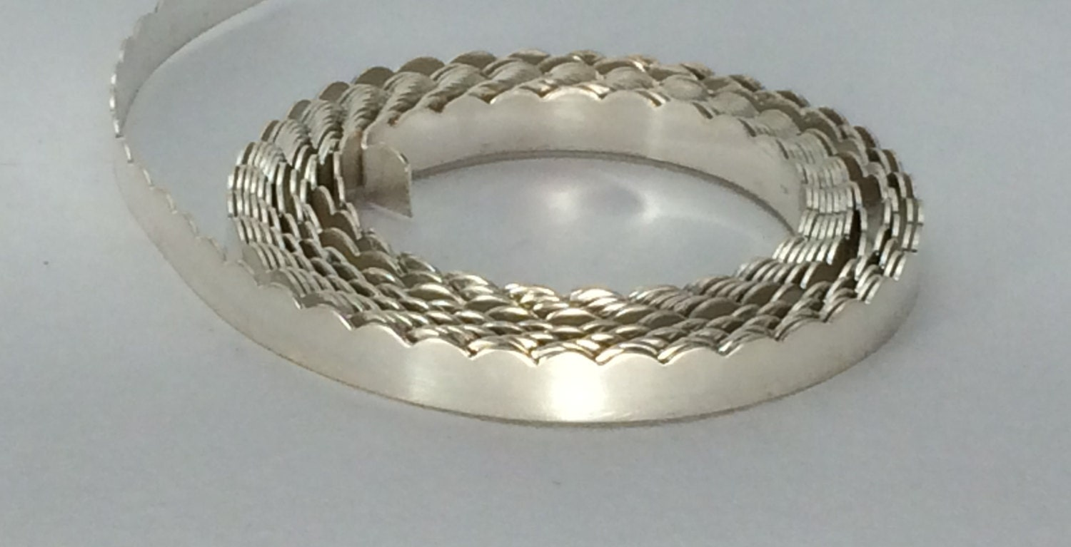 1 ozt- 30G .999 silver scalloped bezel wire, gallery wire, stone ...