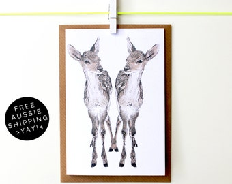 Festive Fawns Christmas Card - Illustrated Greeting card - 100% Recycled - From TheWildGooseProject