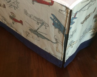 "14"" Any Fabric Straight Crib Skirt. Helicopters  and airplanes and 2"" trim navy cotton"