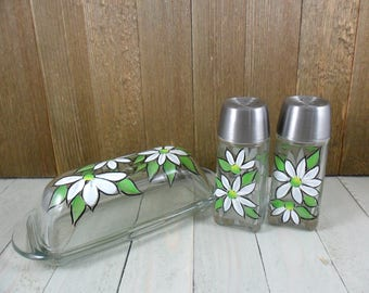 Salt Pepper Butter Dish White Daisy Hand Painted Glass Set