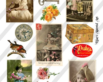 Digital Collage Sheet  Vintage Images  (Sheet no. O58) Ephemera-Instant Download