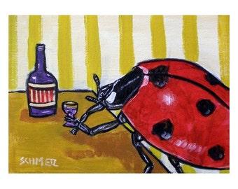 Ladybug at the Wine Bar Insect Art Print   JSCHMETZ modern abstract folk pop art AMERICAN ART gift