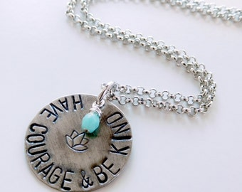 Have courage and be kind necklace | charm pendant | small boho necklace | quote necklace | inspiration necklace