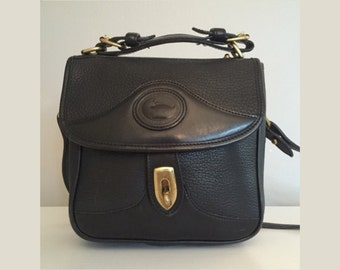 Vintage Dooney & Bourke Square Carrier • Crossbody Shoulder Bag • Black Leather