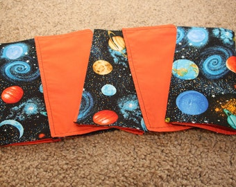 FIVE Cloth Napkins--Kid Size--Realistic Space