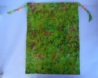 Colorful Batik Cotton Fabric Project Bag or Fine Knits Storage