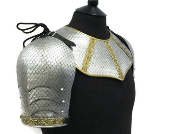 Larp Armour, Fantasy Wyrmwick Scaled Gorget Set, pauldrons, gorget, scalemail, cosplay armor
