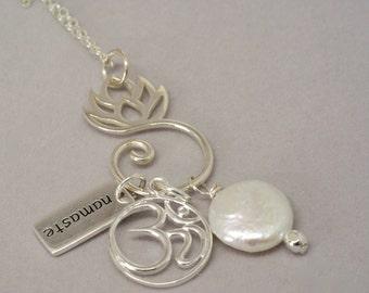 Namaste Charm Necklace, Ohm Pendant, Zen Jewelry, Ohm Necklace, Lotus Charm Holder, Silver Yoga Jewelry, Gift for Yoga Lover, Hindu Jewelry