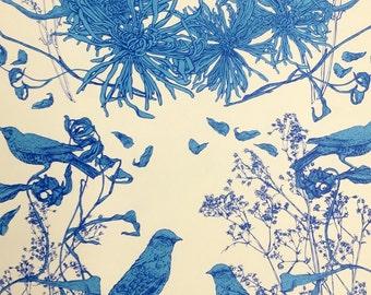 Custom Made Hand Printed Wallpaper Bird Motif Blue