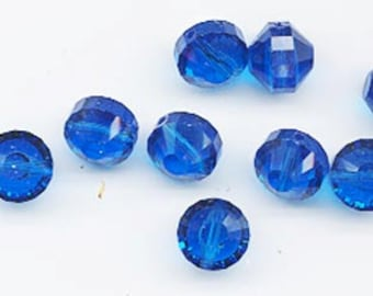 Wow - 12 vintage Swarovski crystal beads: Art. 5101 - 8 mm - capri blue
