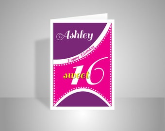 Sweet 16 birthday card for girl, edit name 16th happy birthday for sister, daughter, granddaughter, niece, Sixteen personalised card message