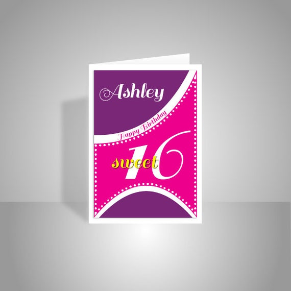 Sweet 16 birthday card for girl edit name 16th happy birthday like this item bookmarktalkfo Gallery