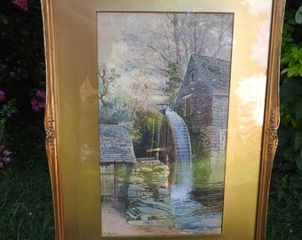 A watercolour signed J.H. Skinner 1893 of a Water Mill. signed ,gilt framed,glazed