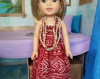 OOAK Upcycled Hawaiian Print Maxi Dress for Wellie Wisher and Glitter Girls Dolls!