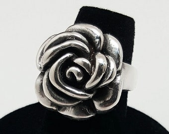 Silver Rose Flower Ring 925 -Sterling Silver Made In USA-Authentic Great gift!