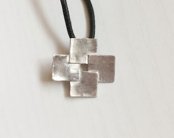 Four squares Cross in sterling silver 925