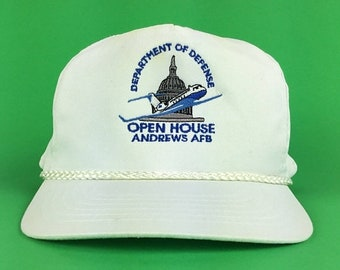 On Sale Now Vintage 90s Department of Defense Andrews Air Force Base OPEN HOUSE White Baseball Cap Hat SnapBack Adult Size