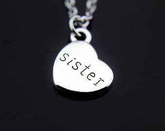 Sister Necklace, Silver Sister Charm Necklace, Sister Charms, Sister Pendants, Sister Heart Pendant Necklace, Personalized Necklace