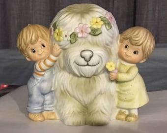 Gorham ceramic bank  A Hug is a Heart Warmer. Dog and children 1983