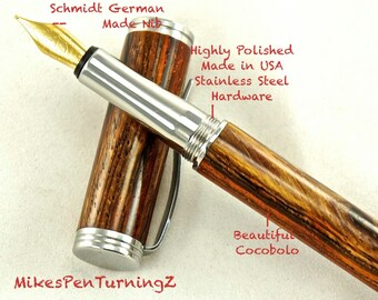 Custom Wooden Pen  Hand Turned Custom Fountain Pen Beautiful Cocobolo and Made In USA Stainless Steel Hardware 622FPSSE