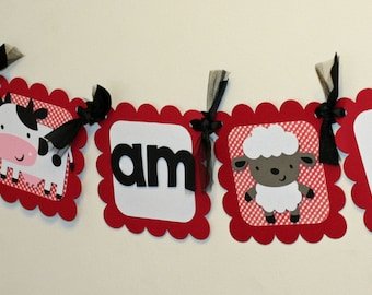 Farm I am 1 Banner, farm Highchair Banner, Farm Birthday, Barnyard Birthday, First Birthday, I am 1 Banner, Farm decorations, farm Banner