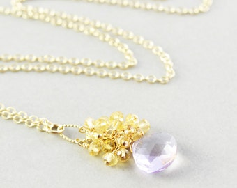 Amethyst Pendant Necklace, Citrine Necklace, February Birthstone, Purple Yellow Necklace