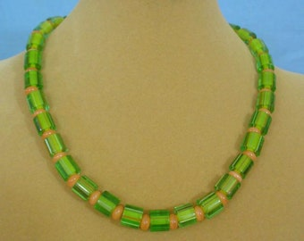 """18"""" Cane Glass and Cat's Eye glass necklace - N604"""