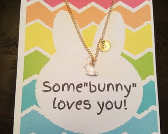 Cactus personalized teacher appreciation necklace rose gold pink personalized bunny necklace easter gift bunny card easter cards little girl negle Gallery