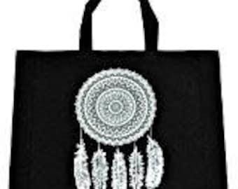 Black & White DreamCatcher Hippie Shoulder Beach Bag Tote Boho Chic Women Handbags Gypsy Bohemian Bags