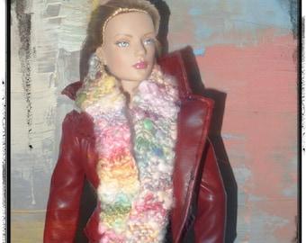 SALE 50 off/Doll Scarf Knitted /Long silk Garden /for 16 inch /Tonner Tyler Wentworth Sydney Gene Ellowyne  BJD  Doll clothes