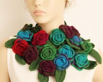 Crochet flower  lariat scarf,crochet scarf