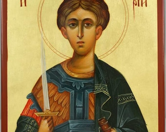 Saint St Demetrius Dimitri of Tessaloniki Hand-Painted Greek Orthodox Byzantine Icon on Wood (Premium Quality)