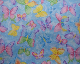 Butterfly Fabric, Rainbow Butterflies on Baby Blue, Pastel Butterflies, Fabric Traditions Quilting Cotton, Woven Cotton, By the Half Yard