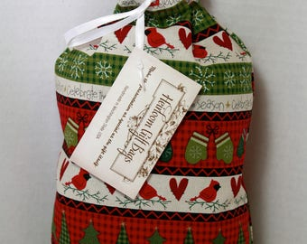 Cloth Gift Bags Fabric Gift Bags Small Gift Sacks Christmas Trees Red Cardinals