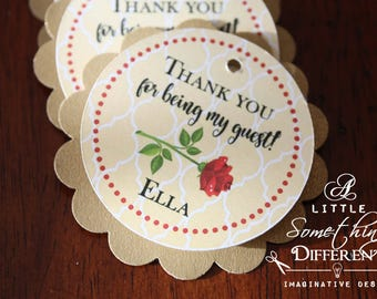 Rose Favor Tag Gold and Yellow, Scalloped Favor Tags, Gold and Yellow Thank You Tags, Rose Gift Tag, Fairy Tale Favor Tag